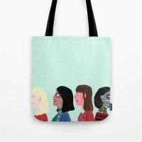women Tote Bags featuring women by Alejandra Hernandez