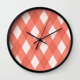 Pantone Living Coral Argyle Plaid, Diamond Pattern Wall Clock