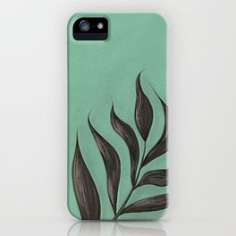 Image of a plant on a mint background iPhone Case