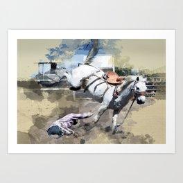 Bucking Bronco 1 Cowboy 0 Art Print