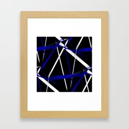 Seamless Royal Blue and White Stripes on A Black Background Framed Art Print