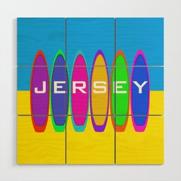 Jersey Surfboards on the Beach Wood Wall Art