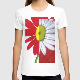Daisies in red T-shirt