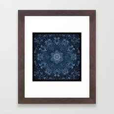 Blue 3D Mandala Ornate Pattern Framed Art Print