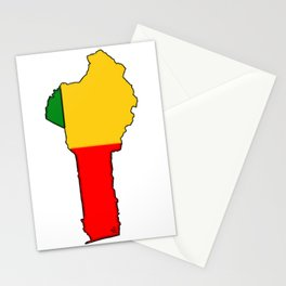 Benin Map with Flag of Benin Stationery Cards