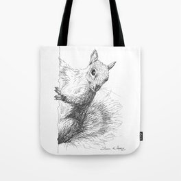 Gray Squirrel Drawing Tote Bag