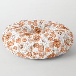 Monday Flowers - 70s retro floral, flowers, terracotta, rust, brown, earth tones, muted, happy  Floor Pillow