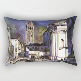Painting of church & street scene in Venice, Italy.  Venice watercolor painting fine art Rectangular Pillow