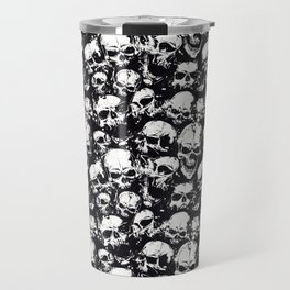 Skulls Crying in The Darkness - Seamless Pattern - Black & White Color Model Travel Mug