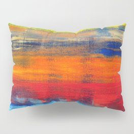Horizon Blue Orange Red Abstract Art Pillow Sham