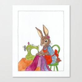 sewing rabbit Canvas Print