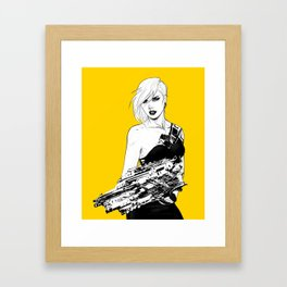 Badass girl with gun in comic pop art style Framed Art Print