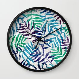 Watercolor Tropical Palm Leaves XI Wall Clock