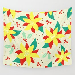 Merry Christmas Holly & Poinsettia Holiday Pattern Wall Tapestry