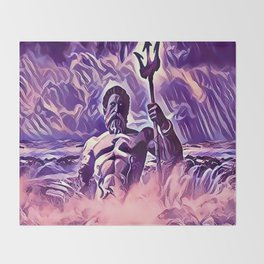 Poseidon - God of the Sea Throw Blanket