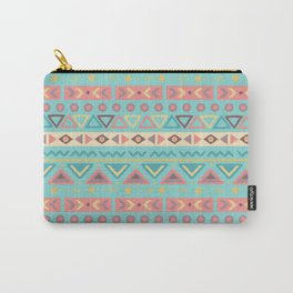 Hand painted teal coral ivory geometrical tribal pattern Carry-All Pouch