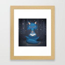 Reading Blue Wolf Framed Art Print