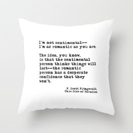 The romantic person - F Scott Fitzgerald Throw Pillow