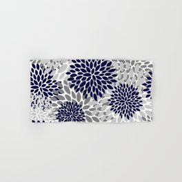 Abstract, Floral Prints, Navy Blue and Grey Hand & Bath Towel