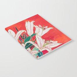 Blush Lily Bouquet on Orange Notebook