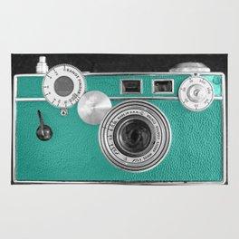 Teal retro vintage phone Rug