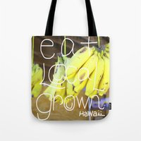 eat Tote Bags featuring eat by kyox art hawaii