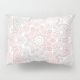 Mandala, Yoga, Love, Coral and Gray, Wall Art Boho Pillow Sham