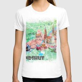 Landshut Bavaria Illustrated Map with Main Roads Landmarks and Highlights T-shirt