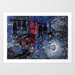 Flying Bat Witch Art Print