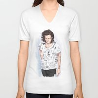 coconutwishes V-neck T-shirts featuring Harry 1D tattoos T-shirt by Coconut Wishes