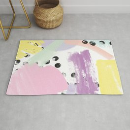 Modern purple yellow black coral pastel abstract watercolor geometric brushstrokes pattern Rug