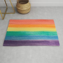 Large Hand Painted Watercolor Gay Pride Rainbow Equality and Freedom Flag Rug