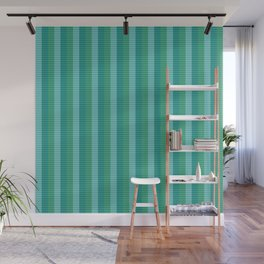 Tanager Turquoise, Teal Blue and Kelly Green Repeat Striped Pattern Wall Mural