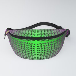 Purple Arrows Pointing into Ombre Green and Purple Field Fanny Pack