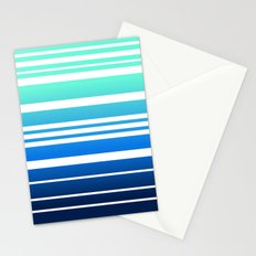 Bay Ombre Stripe: Mint Navy Stationery Cards