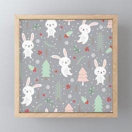 Love Christmas Bunny Framed Mini Art Print