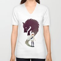 face V-neck T-shirts featuring Werewolf by Freeminds