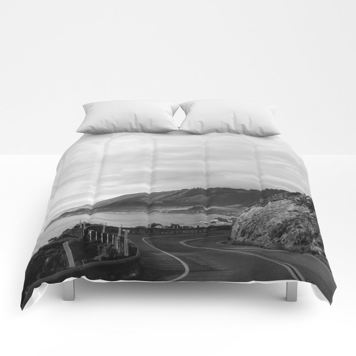 Big Sur Sunset Drive Comforters