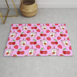 Cute funny sweet boxes of yummy flavored milk, little cherries and red ripe summer strawberries cartoon fantasy pastel pink pattern design Rug