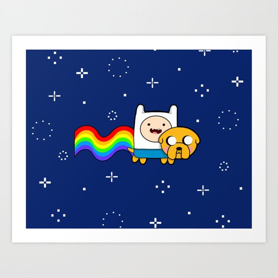 Nyan Time: Adventure Time plus Nyan Cat Art Print