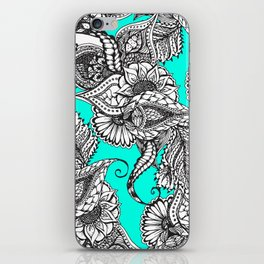 Boho black white hand drawn floral doodles pattern turquoise iPhone Skin