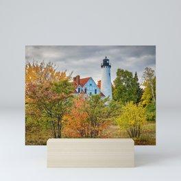 MICHIGAN UPPER PENINSULA LIGHTHOUSE AUTUMN GREAT LAKES Mini Art Print