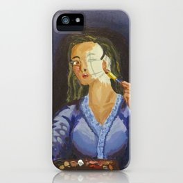 Putting on face. iPhone Case