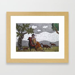 Lady with foxes Framed Art Print