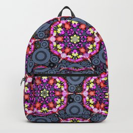 Floral Patterns and Gray Circles Backpack