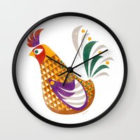rooster Wall Clocks featuring Rooster by Jackie Sullivan