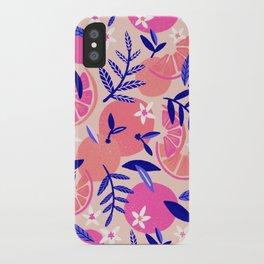 Orange Blooms – Indigo & Pink iPhone Case