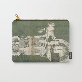 Motorcycle on newspaper, news collage art, decoration man cave, bike cut art Carry-All Pouch