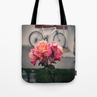 aperture Tote Bags featuring Flowers of El Calafate by Lisa Femia