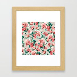 Peonies with lace effect Framed Art Print